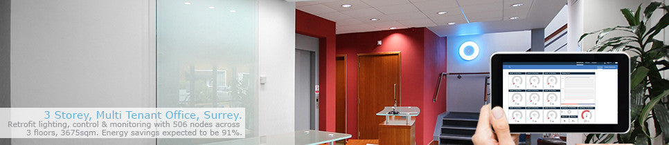 Halcyon Wireless Lighting in three storey office
