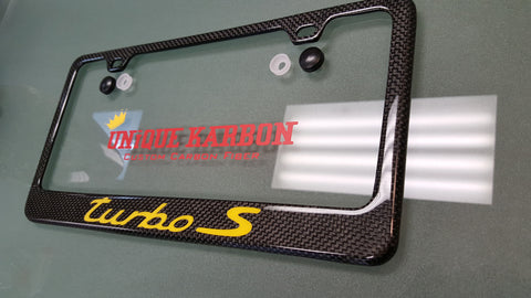 Porsche Turbo S Carbon Fiber Plate Frame Yellow Unique