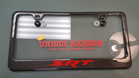 srt carbon fiber license plate frame red