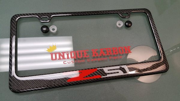 Corvette Z51 Carbon Fiber License Plate Frame Unique Karbon