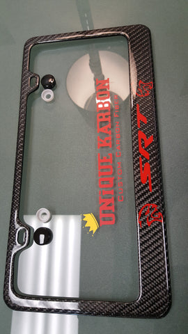 Hellcat Quot Srt Quot Carbon Fiber License Plate Frame Red Logo