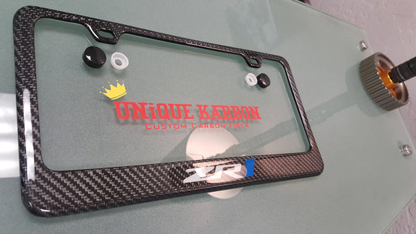 Corvette Zr1 Carbon Fiber License Plate Frame Brushed Blue