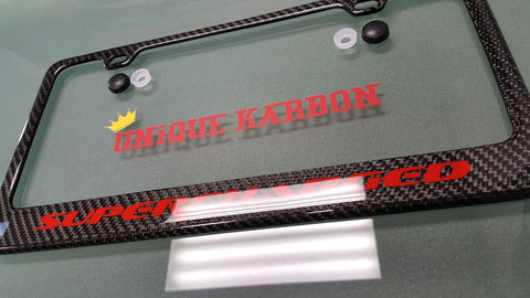 red logo corvette supercharged carbon fiber license plate frame