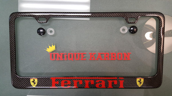 Ferrari Carbon Fiber License Plate Frame Red Logo Unique