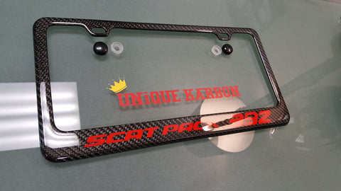 scat pack 392 carbon fiber license plate frame red logo