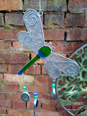 Open image in slideshow, Glitter winged Dragonfly sun catcher