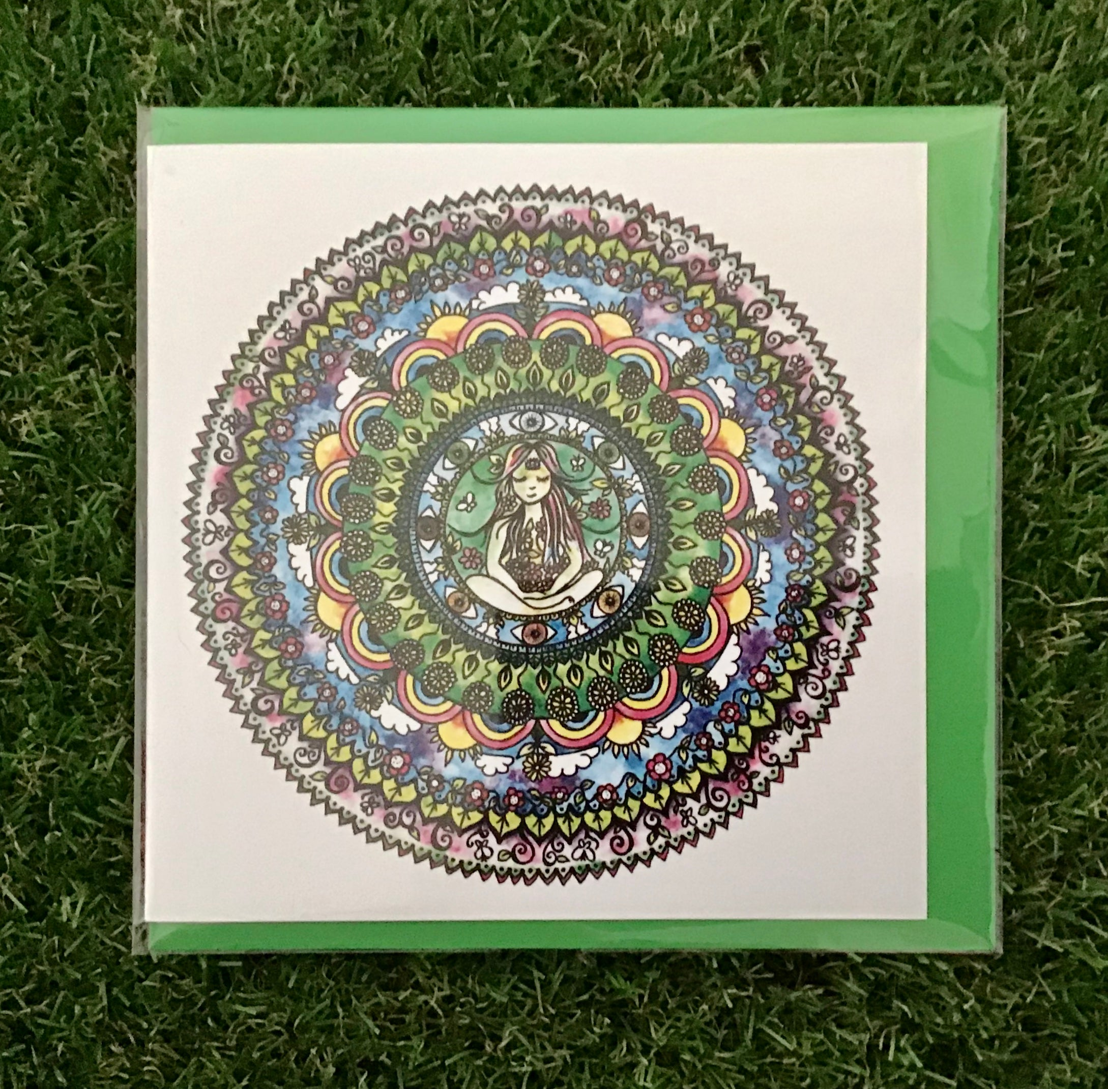 Mandala ,flowerchild, card and coaster set