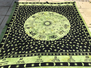 Open image in slideshow, Zodiac, horoscope, Indian tapestry, throw, bedspread