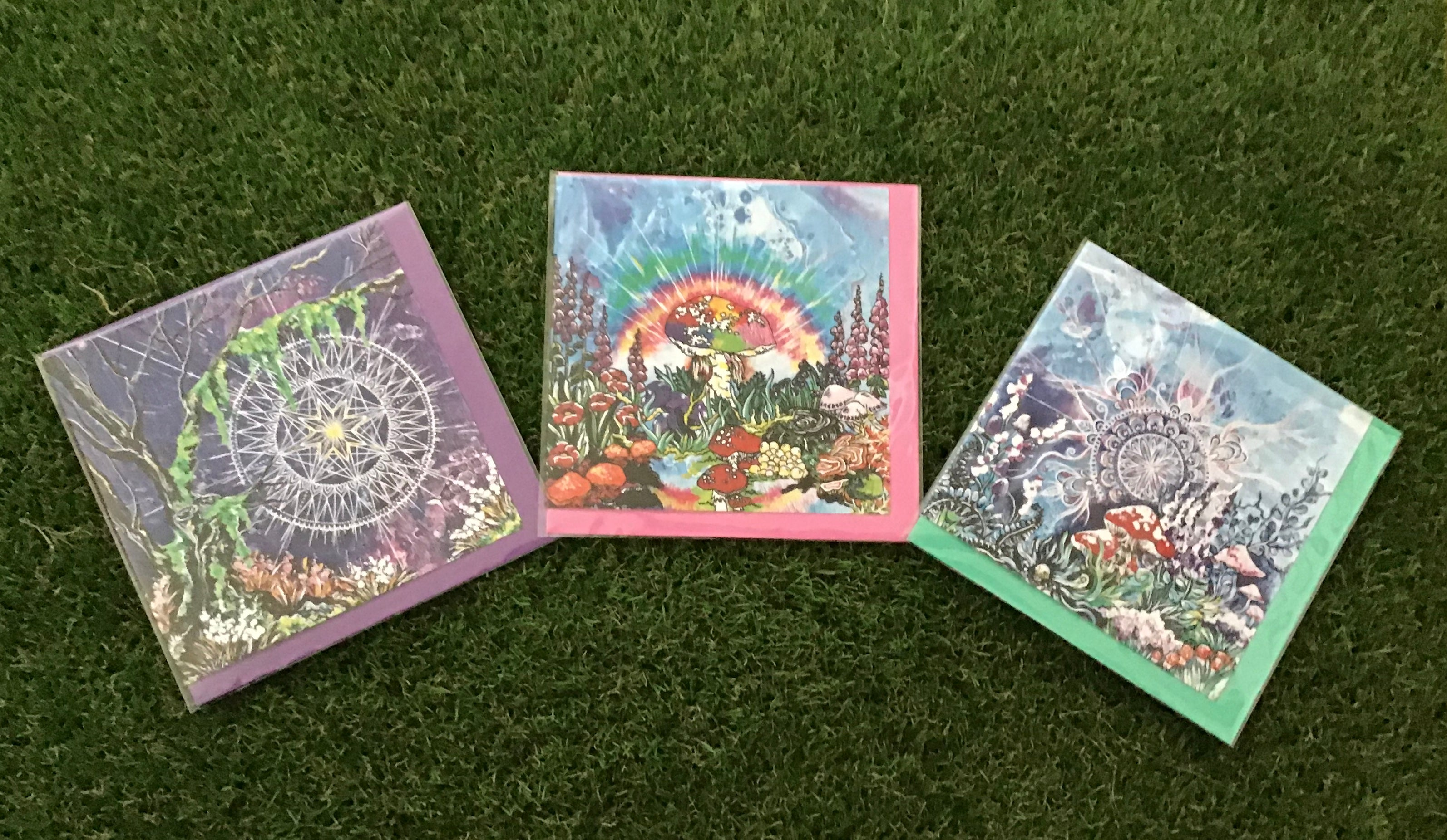 Mushroom forest art card collection