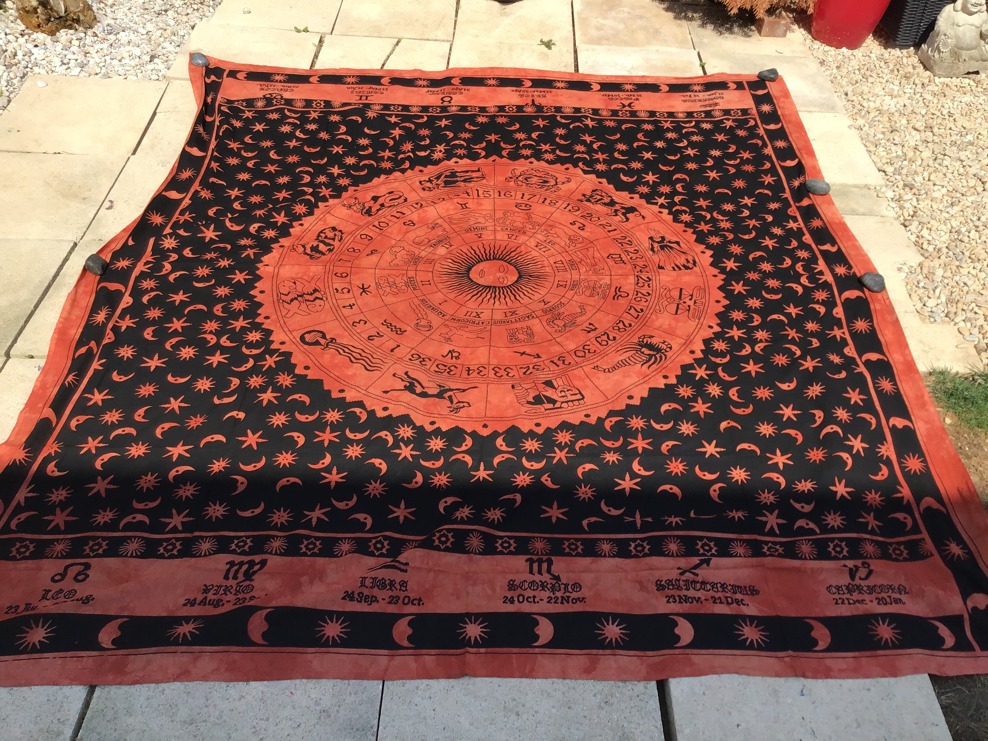 Zodiac, horoscope, Indian tapestry, throw, bedspread