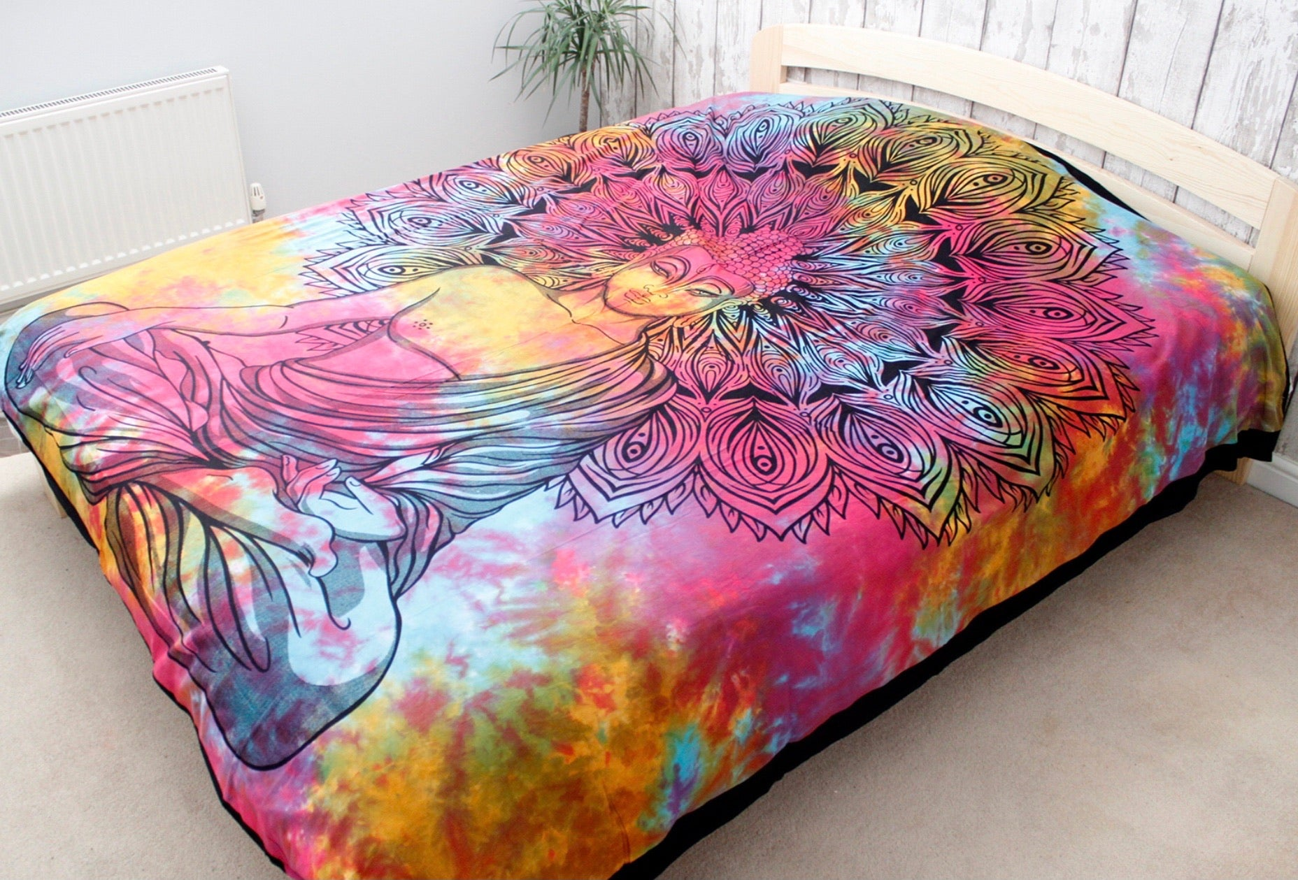 Double bed size Buddha mandala wall hanging, Indian tapestry, bedspread