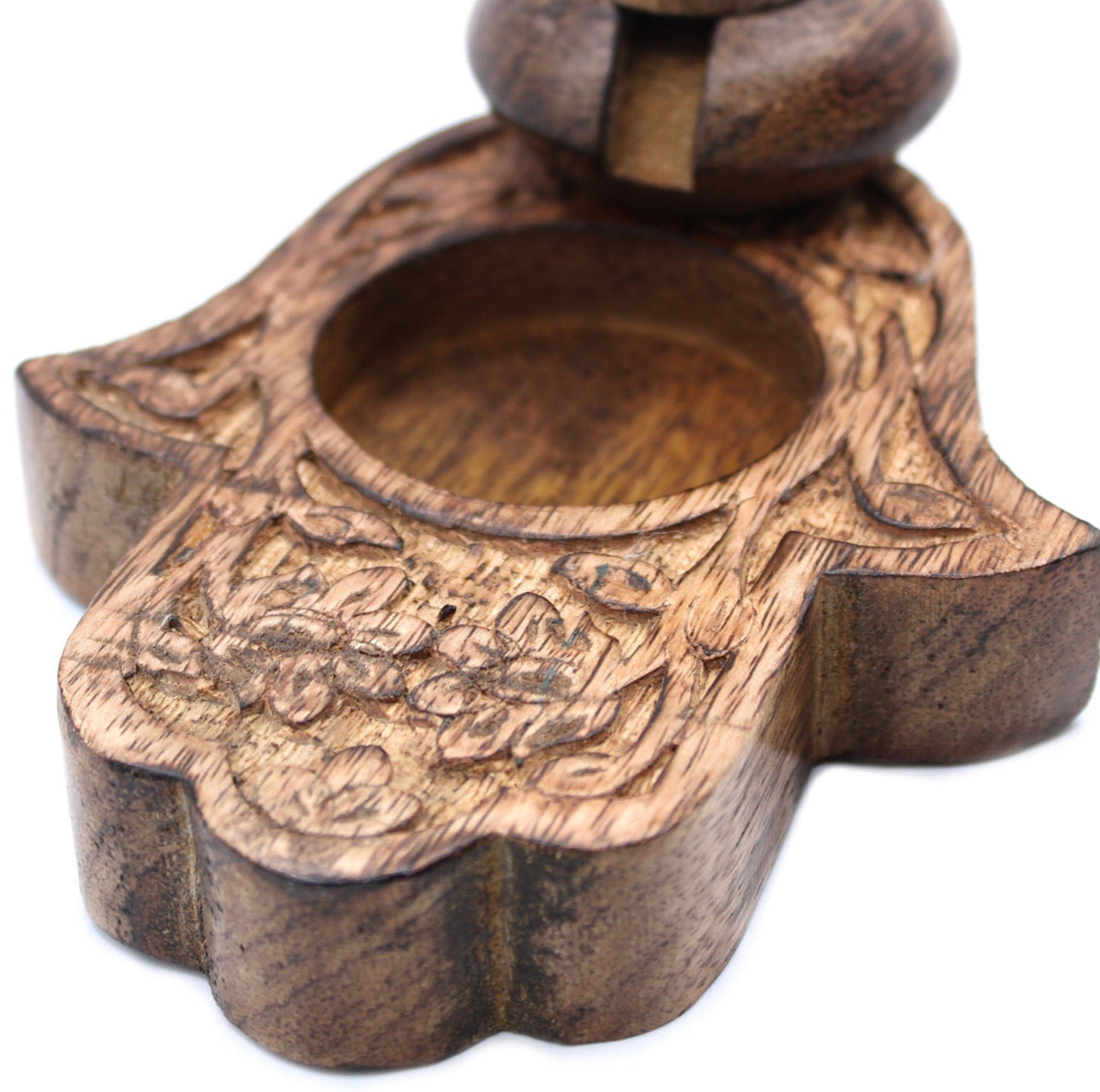Hamsa mango wood backflow incense holder with satya incense