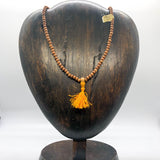 Mala -- Sandalwood 5 mm beads with Bright Yellow-Orange Tassel, 17 inches