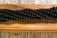 "Black Tourmaline - 8mm - Round - 15-16"" Strand"
