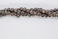 "Druzy Agate - 6mm Faceted Round - 8"" Strand - Black"