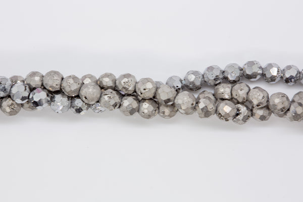 "Druzy Agate - 6mm Faceted Round - 8"" Strand - Platinum"