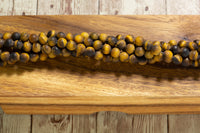 "MATTE Tiger Eye - 8mm - Round - 15-16"" Strand"
