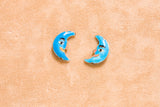 Half-Moon Shaped Enamel Bead (2pc) - 20x13x4mm
