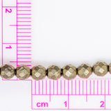 "Pyrite - 4mm Faceted Round - 16"" Strand"