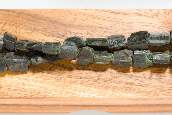 "Raw Black Tourmaline - Nugget 10mm–18mm - 16"" Strand"