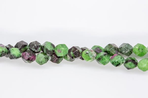 "Ruby Zoisite - 8mm Faceted Round - 16"" Strand"