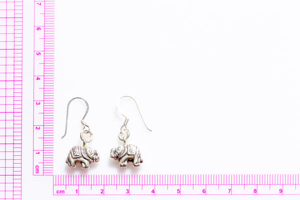 Thai Silver Elephant Earring with Decoration (Pair)