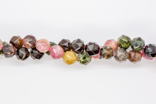"Tourmaline, Multi-colored - 8mm Faceted Round - 16"" strand"