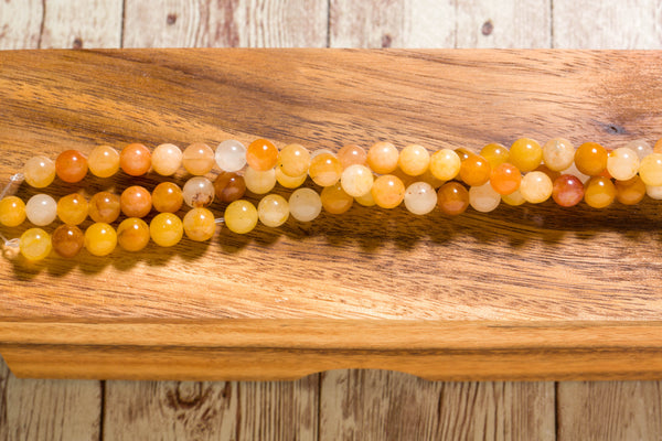"Yellow Jade - 8mm - Round - 8"" Strand"