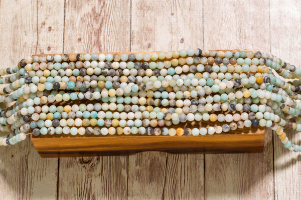 "Matte Black Gold Amazonite - 6mm Round - 16"" Strand"