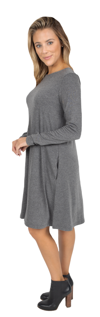 Cross Back Dress - Dark Grey
