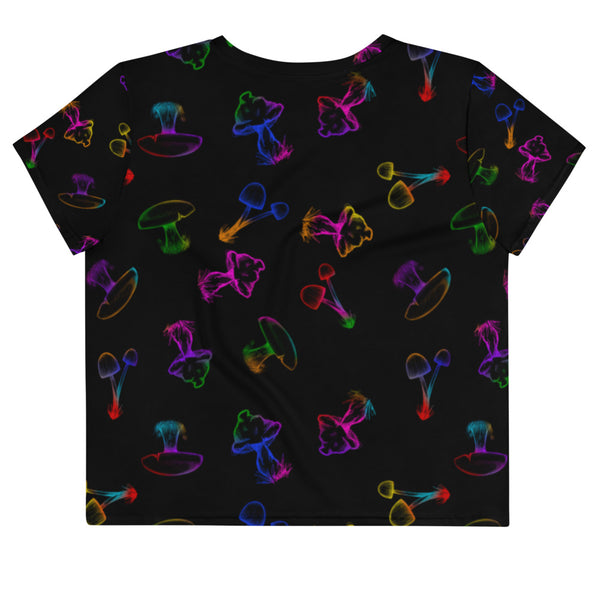 Rainbow Mushroom Pattern Crop Top