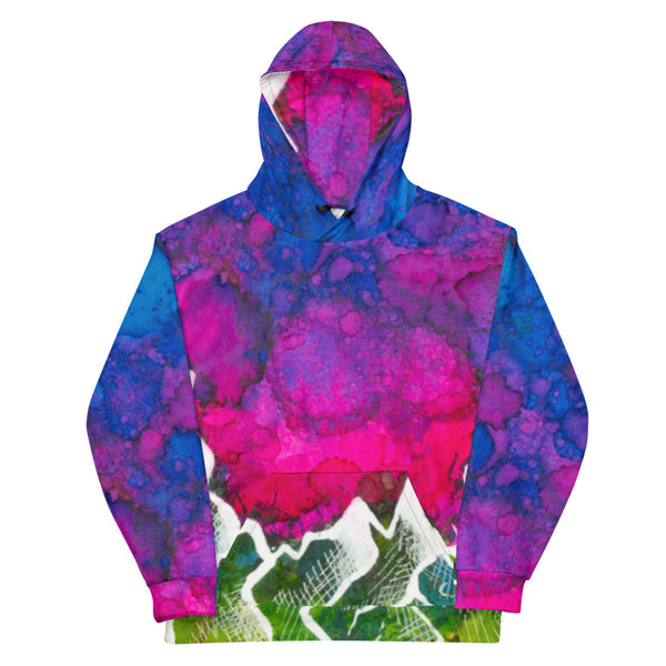 Pink Sky and Mountains Pullover Hoodie