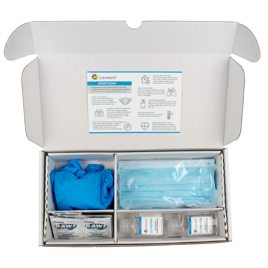 Basic PPE Boxed Kit with Hand Sanitizer, Masks, Gloves & Wipes