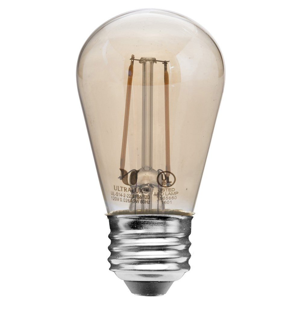 Vintage Clear Amber S14 LED Bulb - 2W Non-Dimmable