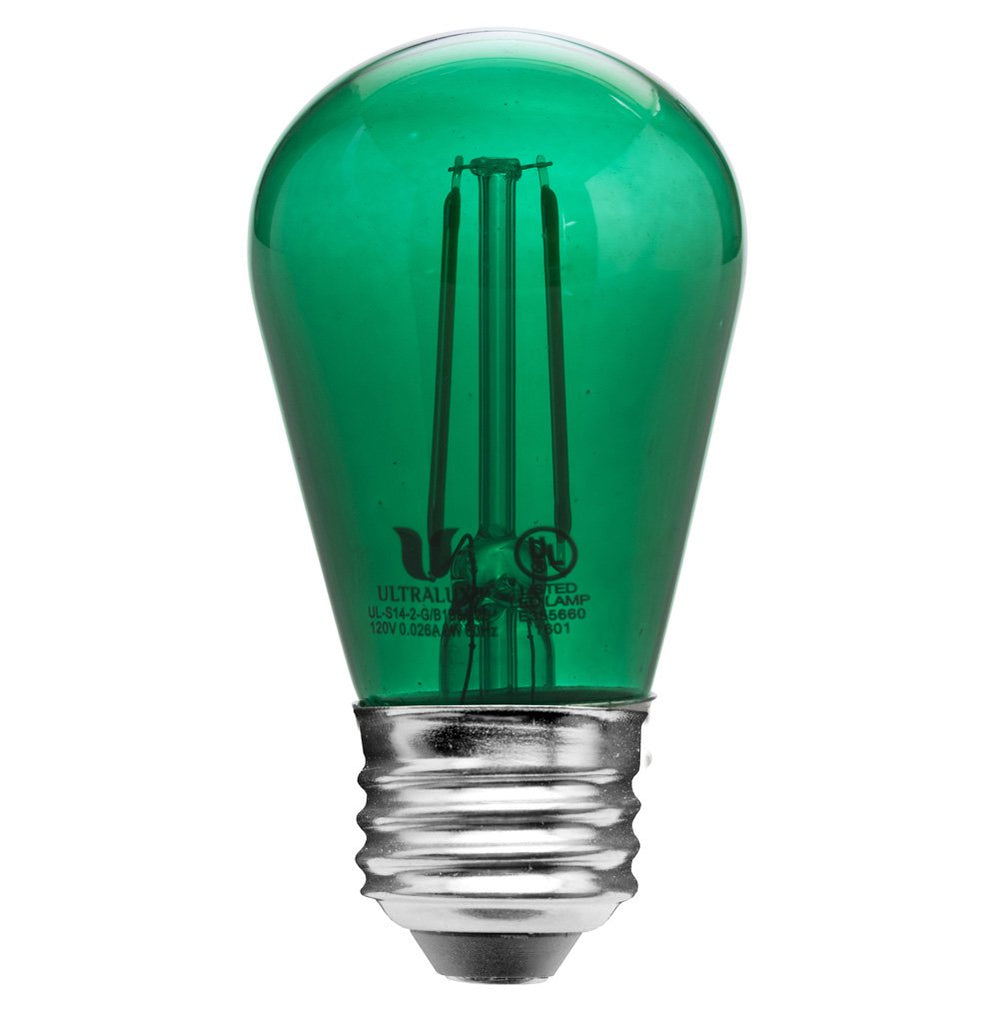 Clear Green Glass S14 LED Bulb - 2W Non-Dimmable