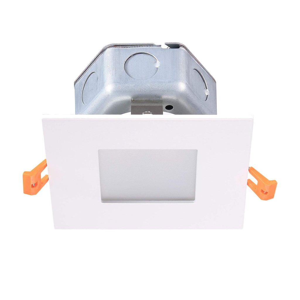 "5"" Modern LED Recessed Direct Wire Sq. Downlight W/ J-Box"