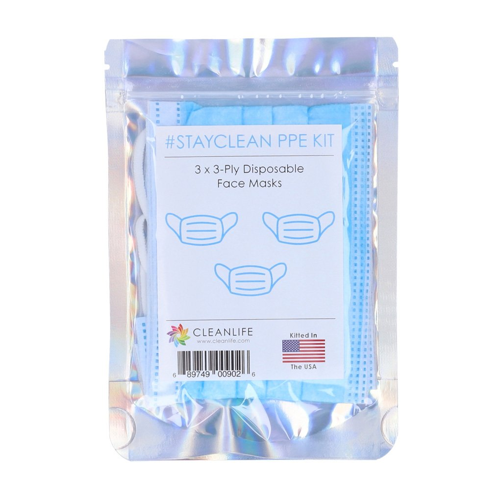 #STAYCLEAN Disposable 3ply Face Mask Kit (3-Pack)