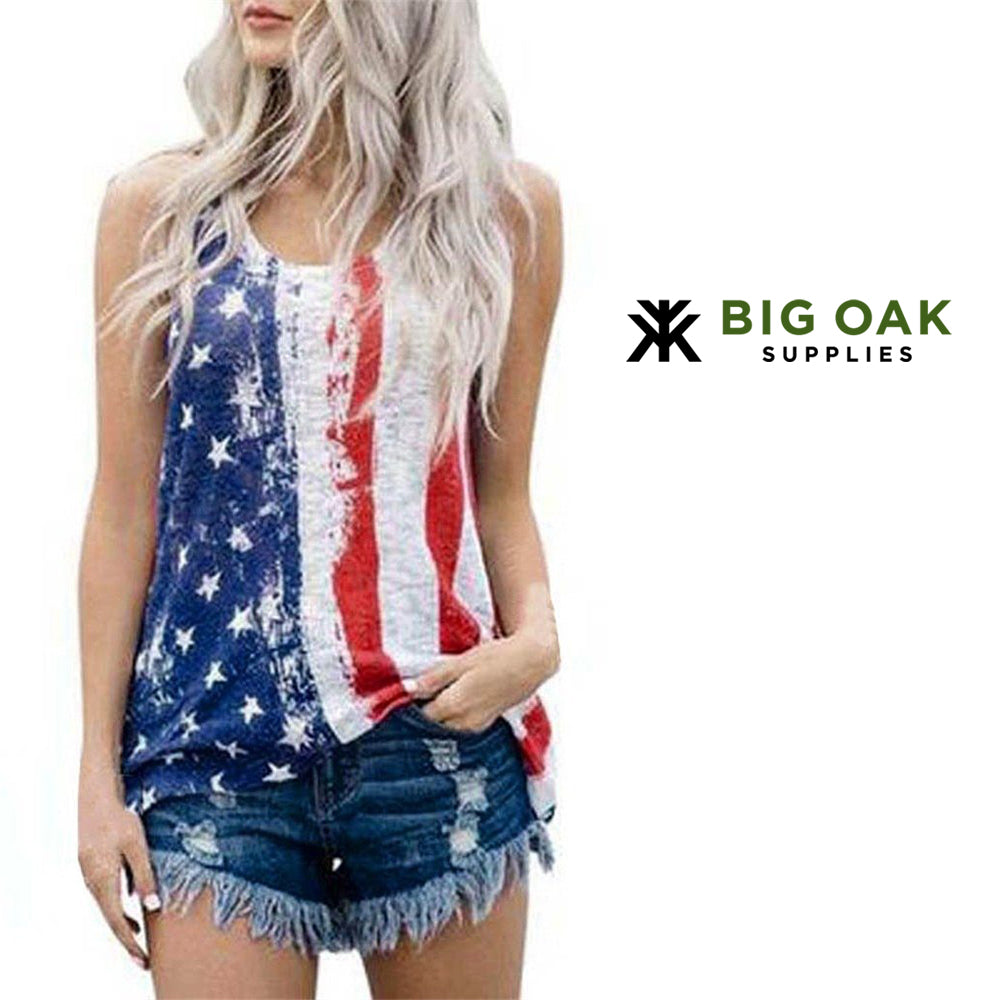 Sleeveless Patriotic Rave Festival Tank Top