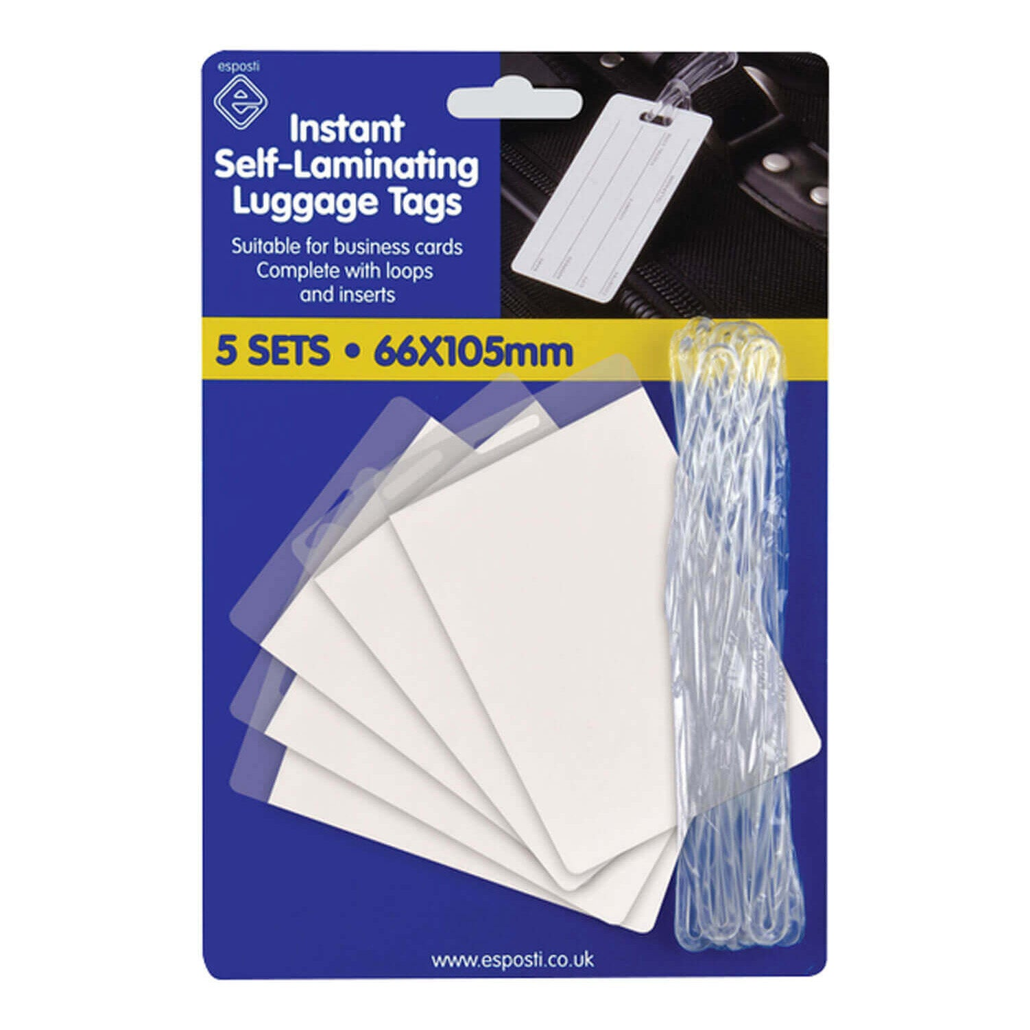 Esposti Self Laminating Luggage Tags 5 Sets Per Pack Suitable For Business Cards - 66 x 105 mm