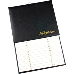 Esposti Address & Telephone Index with Vinyl Grained Cover & Hanging Hook - Black - Size 150 x 230mm - EL43-Black - 5022383003060