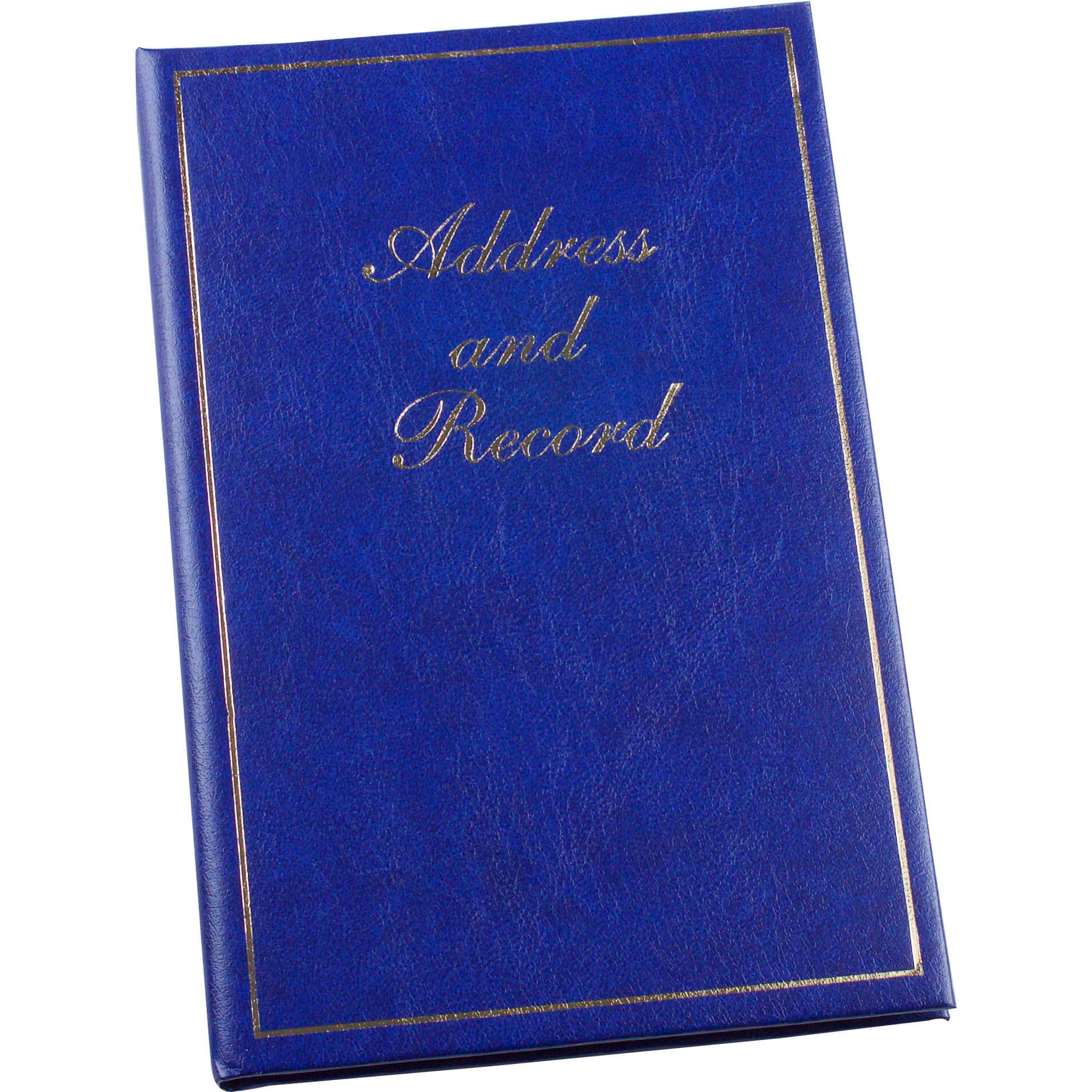 Esposti Address Book - Vinyl Padded Cover - Gold Letters - 3 Step Index for Christmas Card List Birthdays and Anniversaries - Blue - Size 135 x 195mm