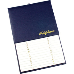 Esposti Address & Telephone Index with Vinyl Grained Cover & Hanging Hook - Blue - Size 150 x 230mm - EL43-Blue - 5022383003060