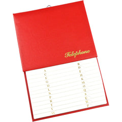 Esposti Address & Telephone Index with Vinyl Grained Cover & Hanging Hook - Red - Size 150 x 230mm - EL43-Red - 5022383003060