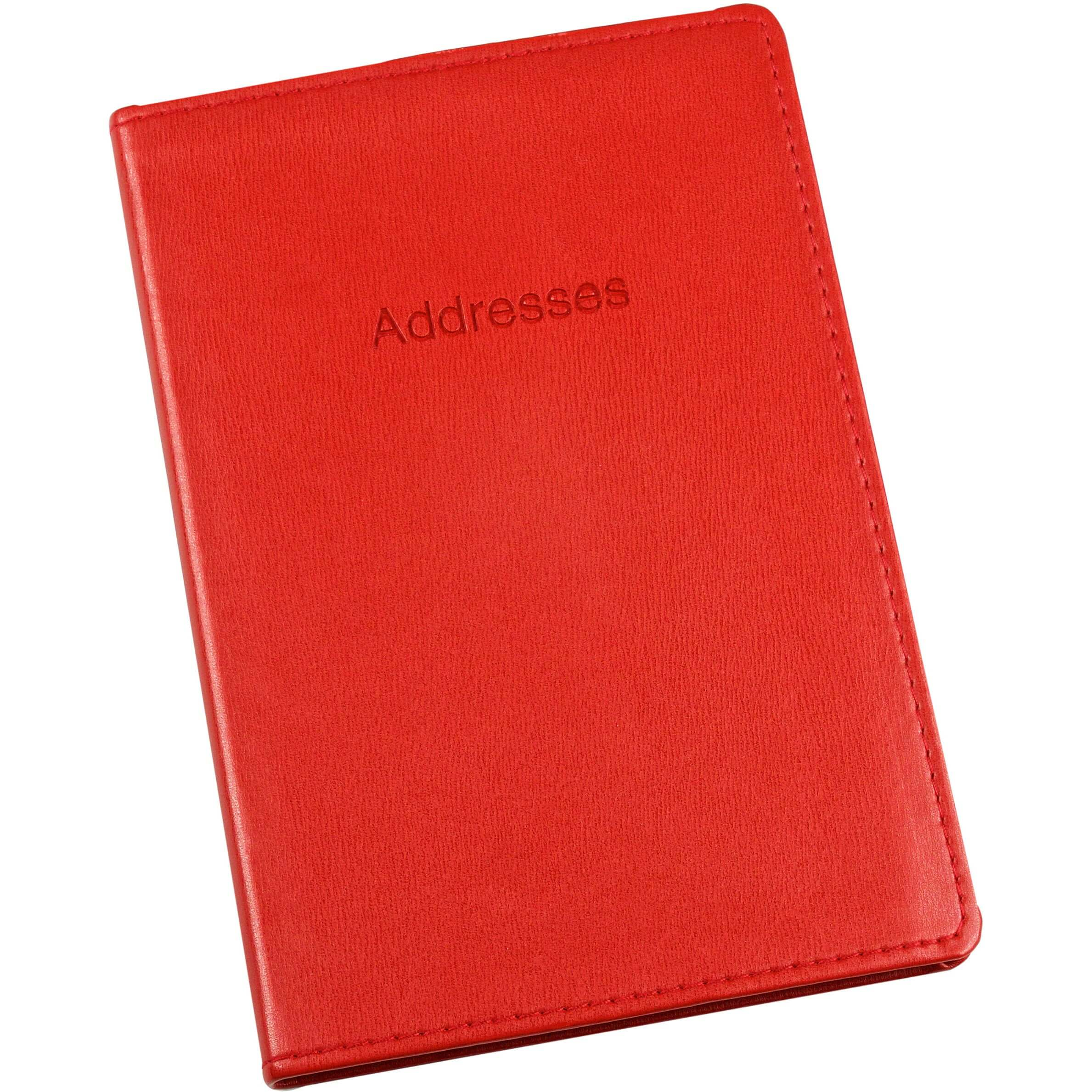 Esposti Address Book - Soft Leather Feel Stitched Cover - Red - Size 131 x 196mm