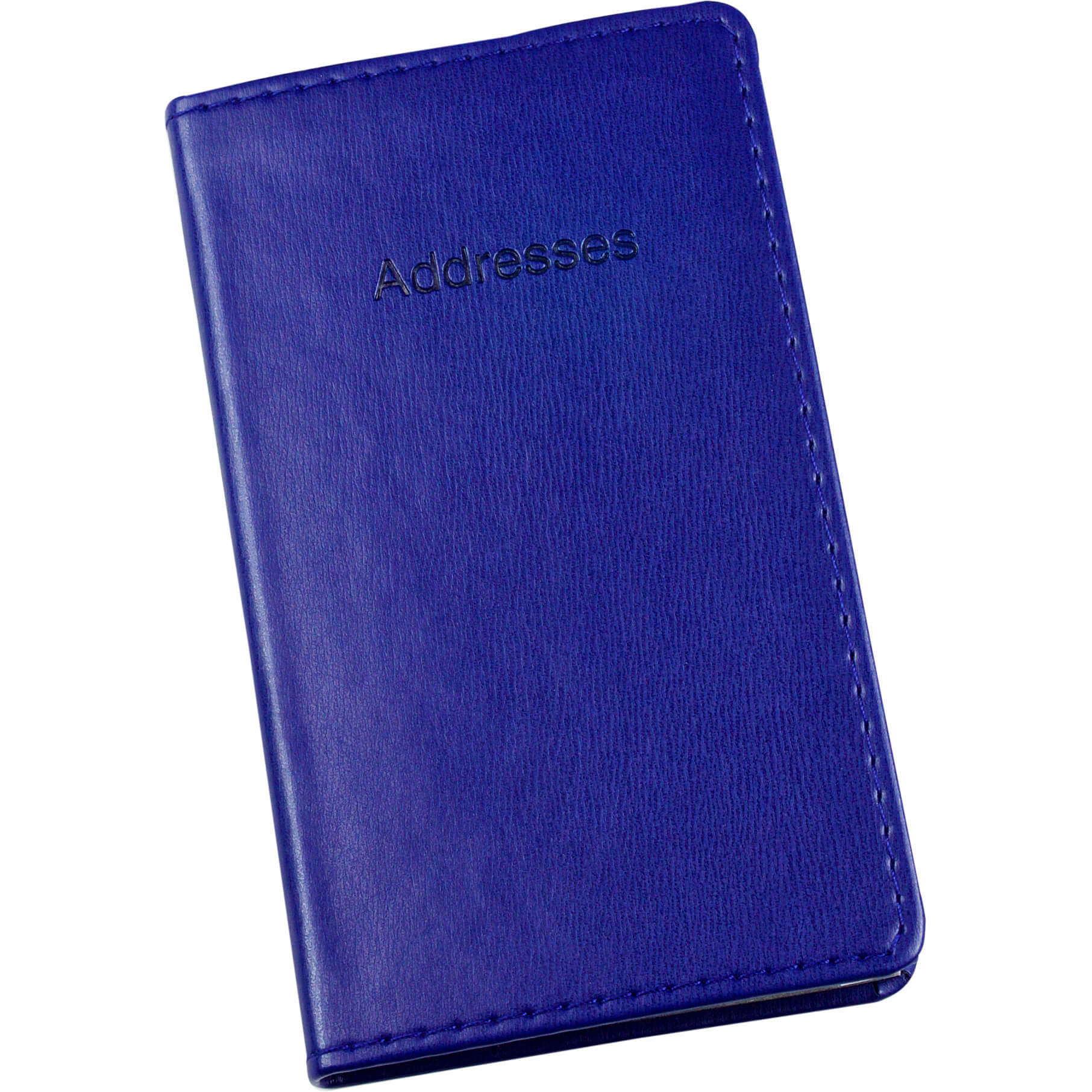 Esposti Slim Address Book With Stitched Leather Feel Cover - Blue - Size 85 x 148mm