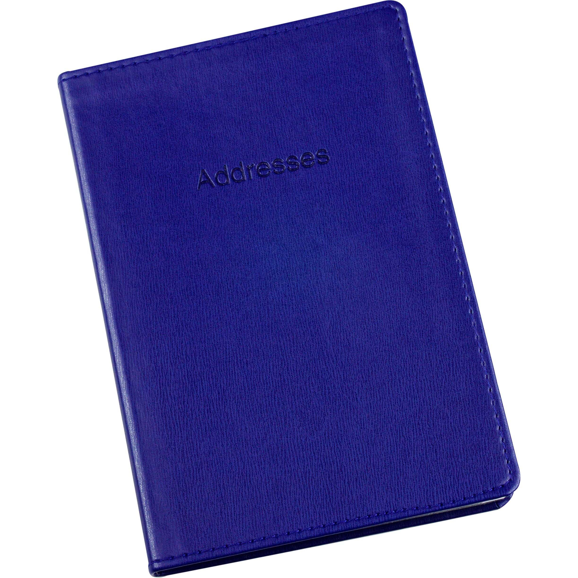 Esposti Address Book - Soft Leather Feel Stitched Cover - Blue - Size 131 x 196mm