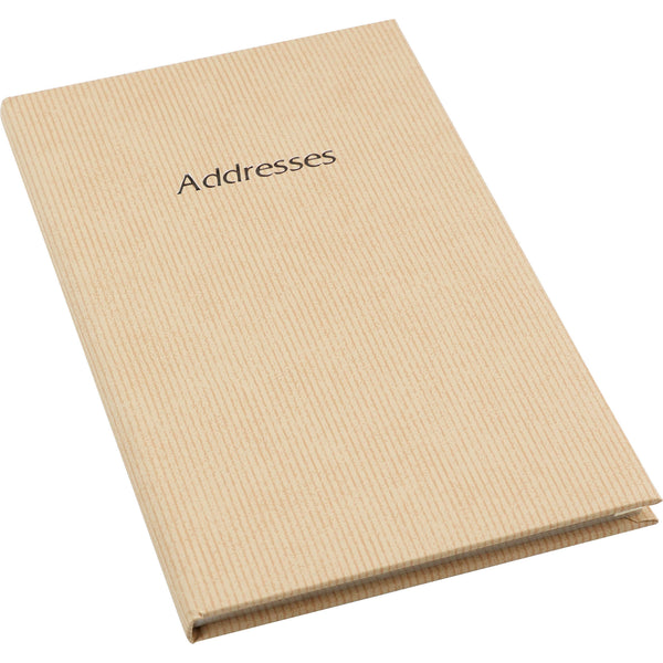 Esposti Address Book - Striped Vinyl Paper Cover - Birthdays & Notes Section - Beige - 135 x 205mm - EL37-Beige - 5022383774137