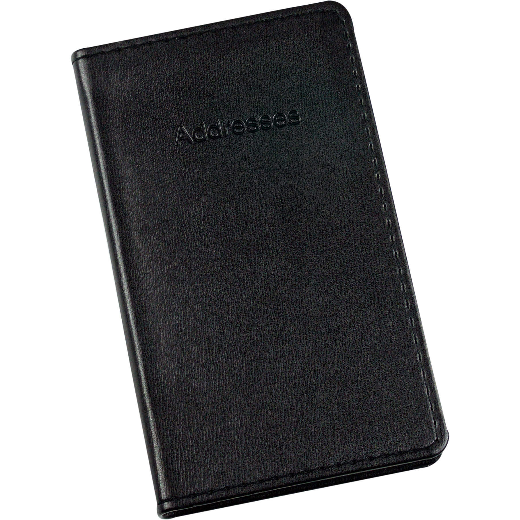 Esposti Slim Address Book With Stitched Leather Feel Cover - Black - Size 85 x 148mm