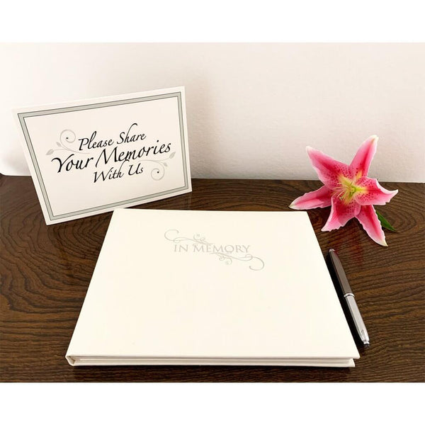Esposti In Memory Condolence Book - Presentation Boxed - Cream Linen Cover - Size 26.5 x 19.5cm & Table Sign - EL56CS - 5022383773949