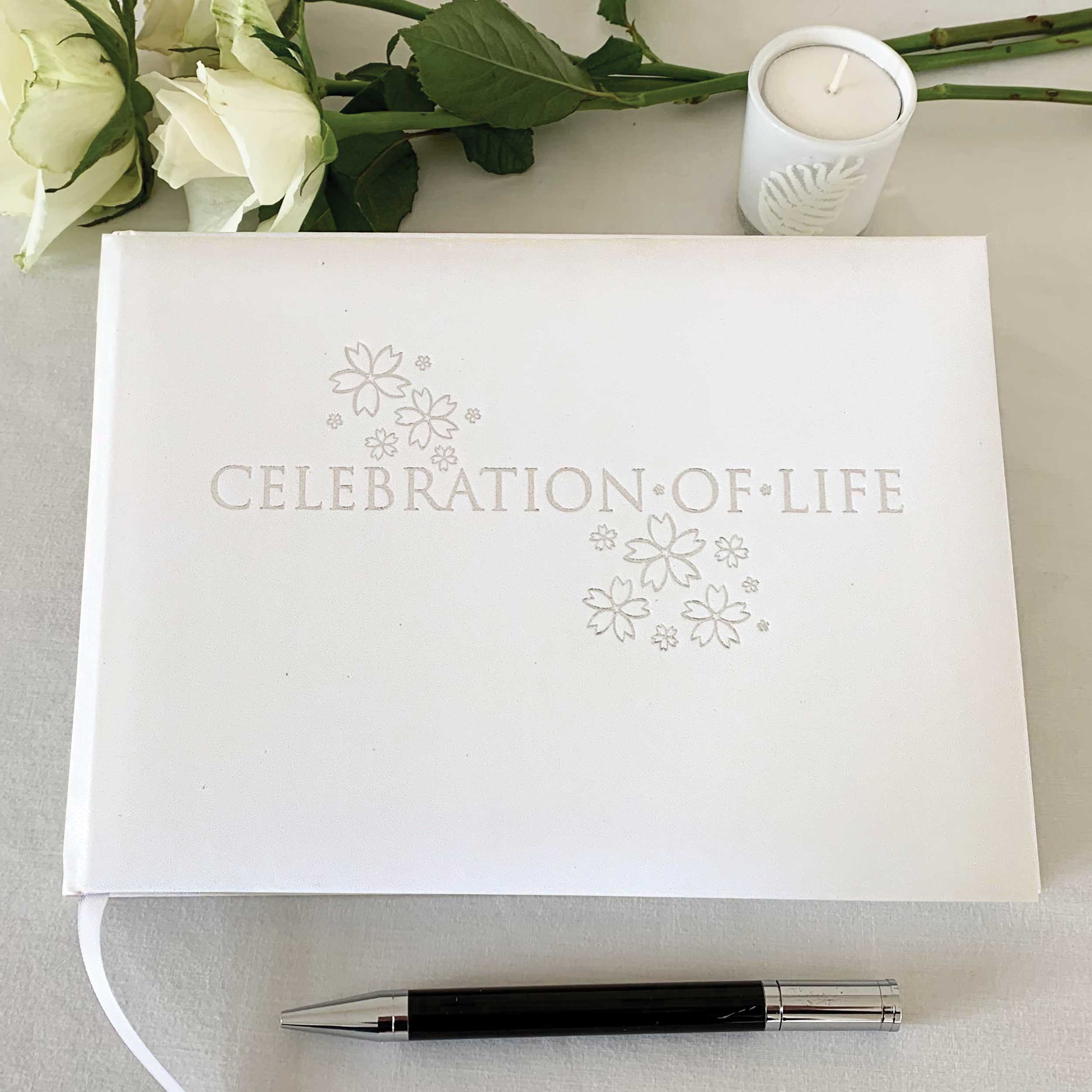 Esposti Celebration Of Life Condolence Book - Open Format Inner Pages - Presentation Boxed - White - Size 228 x 170mm